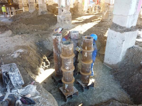 Rohrgründung mit doppelwandigen N80 Röhren , Tiefe 22 Meter